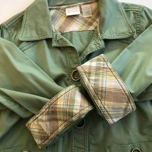 Erika Olive Utility Jacket with Plaid Cuffs sz S